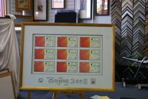 Framed memorabilia (tickets) from the 2008, Beijing Olympics